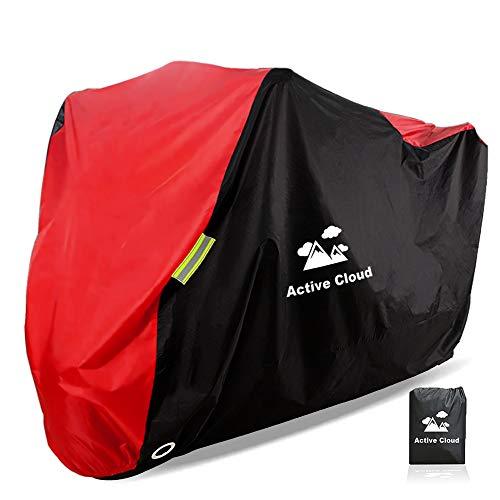 Active Cloud バイクカバー バイク車体カバー 2019最新デザイン 300D 厚手 重約1.17kg 防水 UVカット 日焼け止め 風飛び防止 耐久性あり 265cmまで対応 3年間品質保証 [収納袋と雑巾付き] (赤)