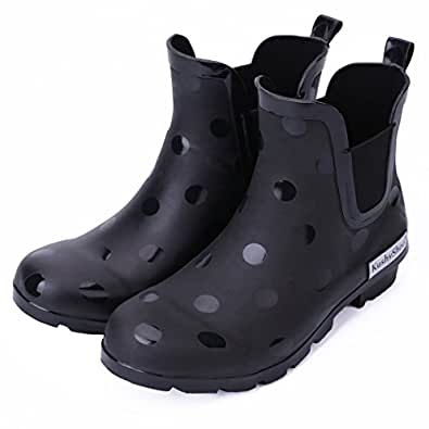 [KushyShoo] レインブーツ レディース&メンズ サイドゴア ブーツ レインシューズ 雨靴 ショートブーツ おしゃれ 滑り止め・防水 梅雨対策 通勤・通学用 RCL-5M-JP