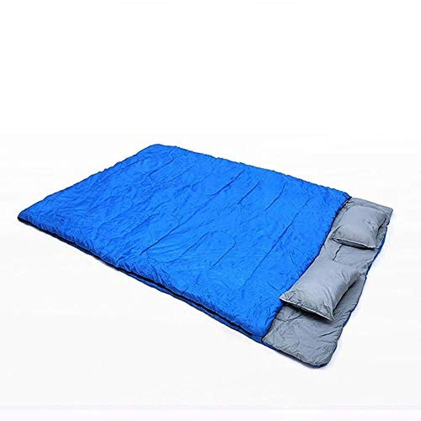 ZXK ブルーグリーン防水暖かい封筒タイプポータブル厚い二重寝袋屋外キャンプキャンプ旅行大人の寝袋 丈夫 (色 : Blue)