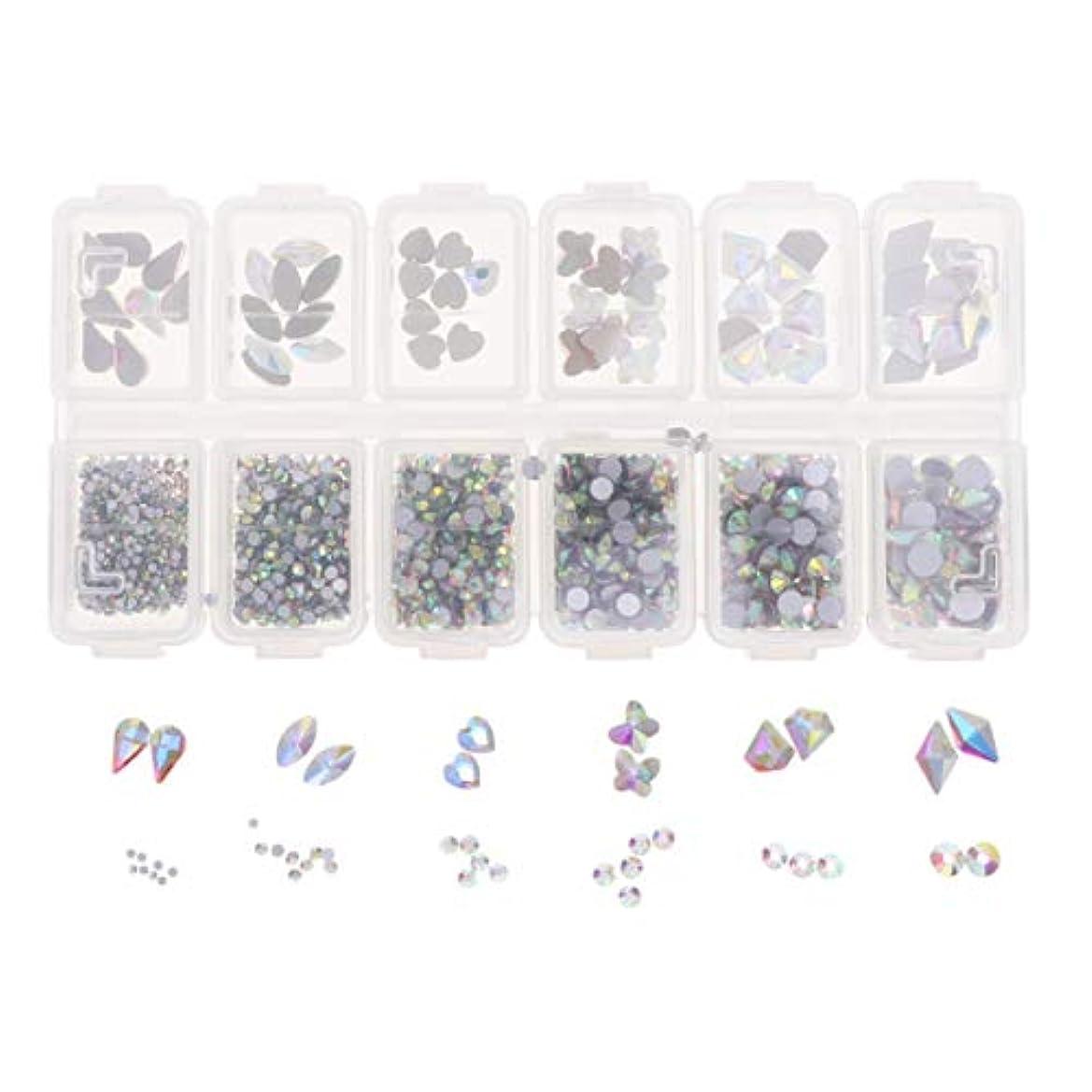 Lurrose 1788ピースネイルアートラインストーンキット12コンパートメントdiyラインストーンクリスタルダイヤモンドビーズ用女の子ネイルアート装飾用品