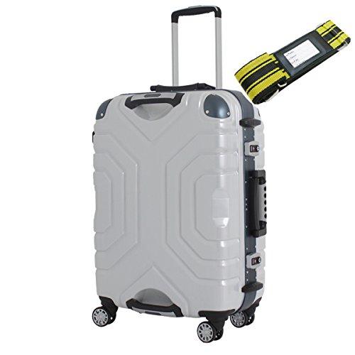 [セット品] (シフレ) siffler ESCAPE'S シフレ エスケープ B5225T-58 双輪キャスター 5.1kg 52L ・ 鞄倶楽部 59013 スーツケースベルト 黄/黒 【合計2点セット】 (ヘアラインホワイト/ブルー)