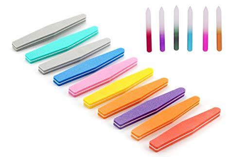 爪 やすり 爪磨き カラフル ガラス製 6本 & 無地菱型 ...