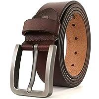 "JingHao Belts for Men Genuine Leather Belt for Jeans Dress Black Brown Regular Big and Tall Size 28""-64"""