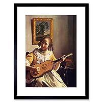 ペイントVermeer Guitar Player Old Master Framed Print f12X 3760 12-Inches x 16-Inches ブラック F12X3760_Black