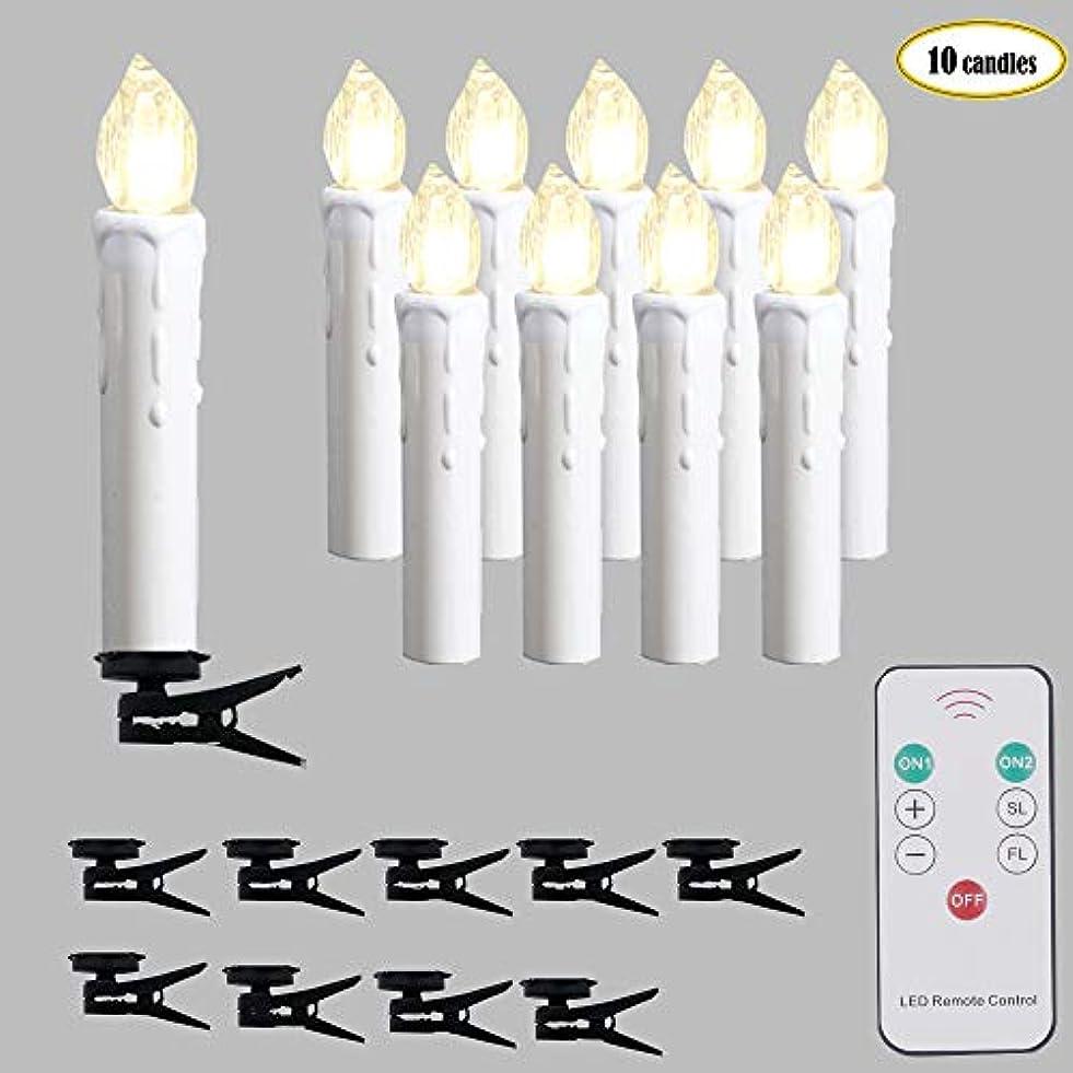 アナリストカールファックスクリスマスツリーデコレーション LEDテーパーキャンドル リモコン&タイマー 電池式 フレームレス電動ミニ模造ワックス 調光機能付き ちらつきウィンドウライト シャンデリア用クリップ 10個入り 温白色
