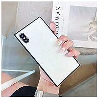にとって iPhone XS ケース, Vnvan パーソナリティー耐破壊角型ガラスシェル携帯電話超薄型保護カバー にとって Apple iPhone XS - 白