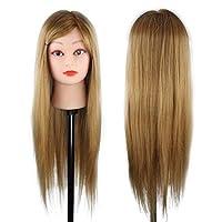 """FidgetGear 100%人間の髪の毛のトレーニングヘッドサロン理髪マネキン化粧人形&クランプ 24""""50%本物の人間の髪の毛の茶色"""
