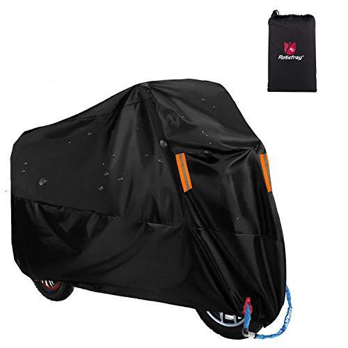 Rosefray バイク車体カバー 厚手 高品質210Dオックス生地 撥水 耐熱 UVカット 245cmまで対応(XLサイズ,改良型,(黒))