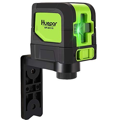 Huepar 2ライン グリーン レーザー墨出し器 クロスラインレーザー 緑色 レーザー 自動水平調整機能 高輝度 ライン出射角110° ミニ型