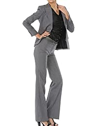 パンツスーツ リクルートスーツ レディススーツ グレー ストライプ 就活 3号 上下別サイズ対応スーツ