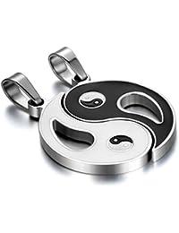 JewelryWe カップル ペア(2個) ネックレス,チョーカー, 45cm & 55cm チェーン と ペンダント セット, ハート型ペンダントとキー 鍵ペンダント セット, ステンレス, カラー:ブラック; シルバー(銀)