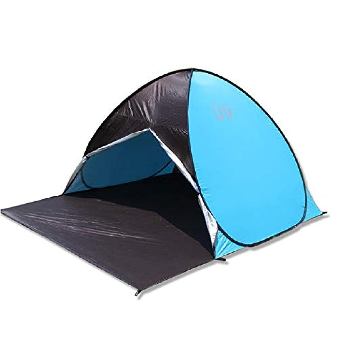 ドナーメナジェリー複雑ワンタッチテント ポップアップビーチテント3-4人家族の紫外線保護大型サンシェードポータブルサンシェルターキャンプの釣りのための自動インスタントキャノピーテントハイキングピクニック屋外キャノピーキャリーバッグ付きキャノピーテントキャナバテント 超軽量 通気性抜群 2-3人用 (色 : 青, サイズ : 220*160*130cm)