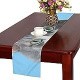 GGSXD テーブルランナー すばしこい ブルー猫 クロス 食卓カバー 麻綿製 欧米 おしゃれ 16 Inch X 72 Inch (40cm X 182cm) キッチン ダイニング ホーム デコレーション モダン リビング 洗える