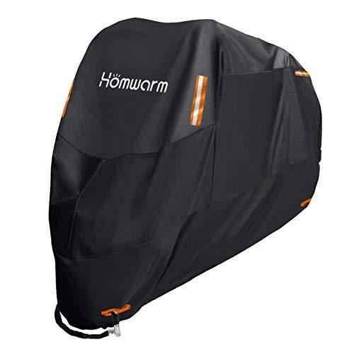 Homwarm バイクカバー 高品質 300D厚手 防水 紫外線防止 盗難防止 収納バッグ付き (XXXL, ブラック)