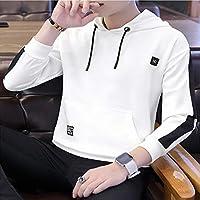 Roupa 秋の新しいメンズフード付きのスウェットシャツ韓国スリムメンズシャツソリッドカラーのセーター (Color : White, Size : L)