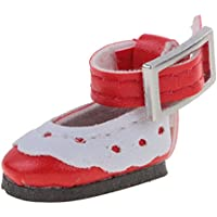 ノーブランド品 かわいい  アンクルストラップ PUレザー 靴 12インチブライスドール対応 7色選べる  - レッド