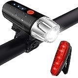 自転車ライト 自転車ヘッドライト テールライト付き 高輝度 1200ルーメン 2000mah USB充電 ロードバイクライト 強/中/弱/フラッシュ 4モード 超小型 LED 自転車前照灯 懐中電灯 IPX5防水 防災 釣り ハイキング フロントライト