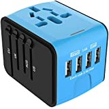 Jollyfit International Universal Travel Adapter 4 USB 2.4A Charger AC Power Wall Plug US UK AU EU Worldwide 150 Countries with Safe Fuse for Europe Asia Germany France Italy India China Russia American British European Adapter
