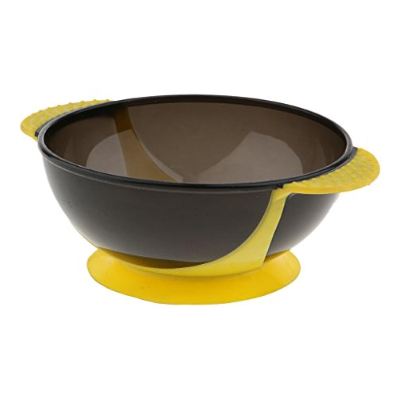 怒ってすきスリンクヘアダイボウル 髪染めボウル ヘアカラー ヘアカラーカップ 着色ツール 吸引ベース 実用性 全3色 - 黄