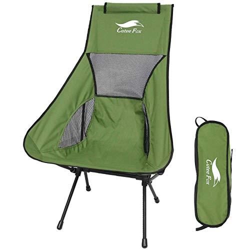 DesertFox アウトドアチェア 折りたたみ 超軽量【ハイバック】【耐荷重150kg】コンパクト イス 椅子 収納袋付属 お釣り 登山 携帯便利 キャンプ椅子0016 (緑 T/ハイバック D)