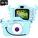 2.4Inch Screen Digital Camcorders Camera Rechargeable 8MP Children's for Outdoor Play - 32GB Memory Card Inclue (Color : Blue)