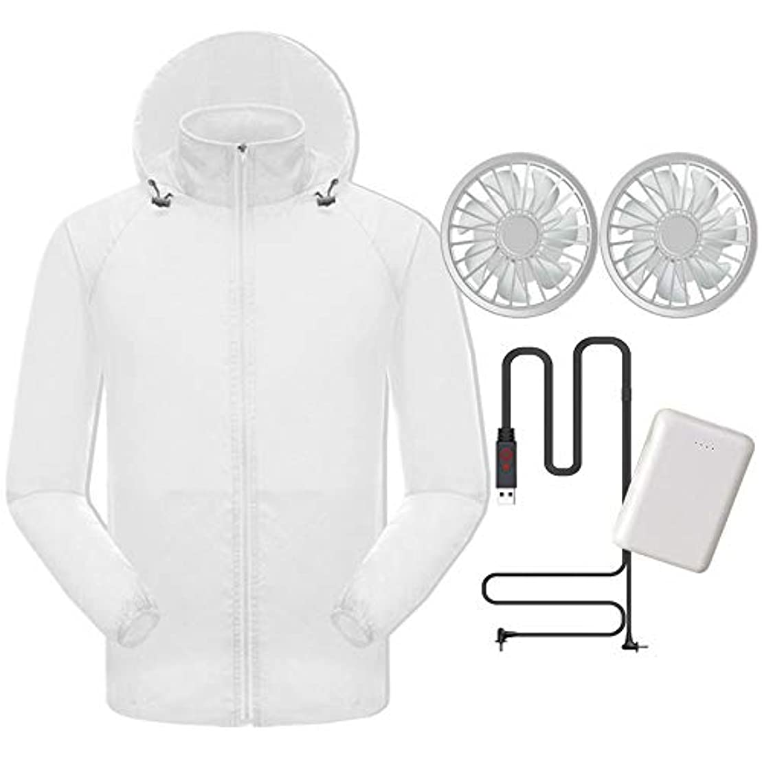 ボクシング幻影緩める夏のスマート冷たい服日焼け止め衣類肌の服男性と女性のアンチスプラッシュ釣り服ファンエアコン衣料品(充電宝物が含まれています),White,XXL