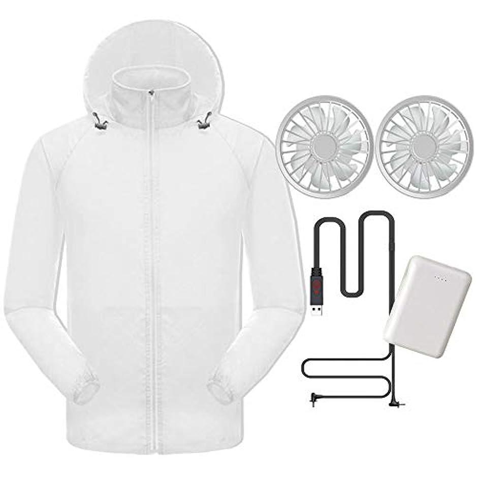 下向きお確認する夏のスマート冷たい服日焼け止め衣類肌の服男性と女性のアンチスプラッシュ釣り服ファンエアコン衣料品(充電宝物が含まれています),White,XXL