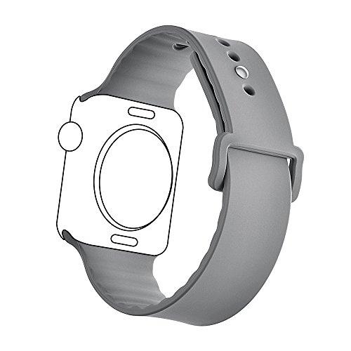 Haotop for Apple Watch band ウォッチ バンド シリカゲルバンド スポーツシリコンストラップリストバンド交換バンド柔らか運動型 (38mm, グレー)