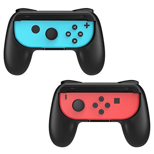 Nintendo Switch Joy-Con グリップ - ATiC ニンテンドースイッチ2017 ABS 耐衝撃 疲労軽減 握りやすい 素早く反応 ハンドルコントローラ グリップ ケース カバー 着脱簡単 高品質 任天堂Switch 2枚 BLACK
