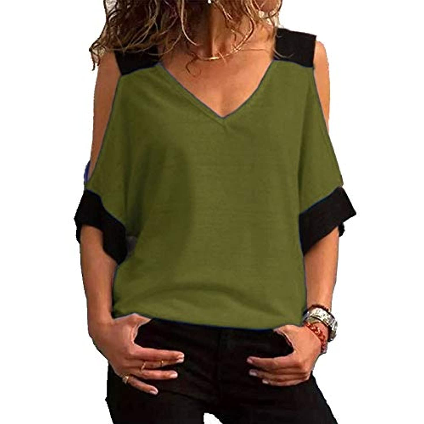 空洞振るうアスリートMIFAN女性ファッションカジュアルトップス女性ショルダーブラウスコットンTシャツディープVネック半袖
