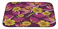 Gear New Floral Pattern with Beautiful Flowers Ha Bath Rug Mat No Slip Microfiber Memory Foam [並行輸入品]