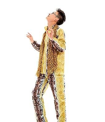 PPAP ピコ太郎 ヒョウ柄 コスチューム 豪華5点セット 衣装 上下セット+サングラス+ストール+ネックレス 忘年会 新年会