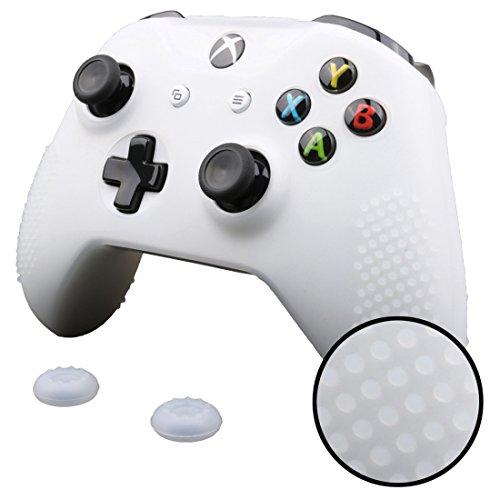 FTzone(エフティーゾーン)フルカバー Xbox One S コントローラー専用シリコンケーススキン保護(コントローラカバー x 2 + ティック カバー x 4)(黒,白)