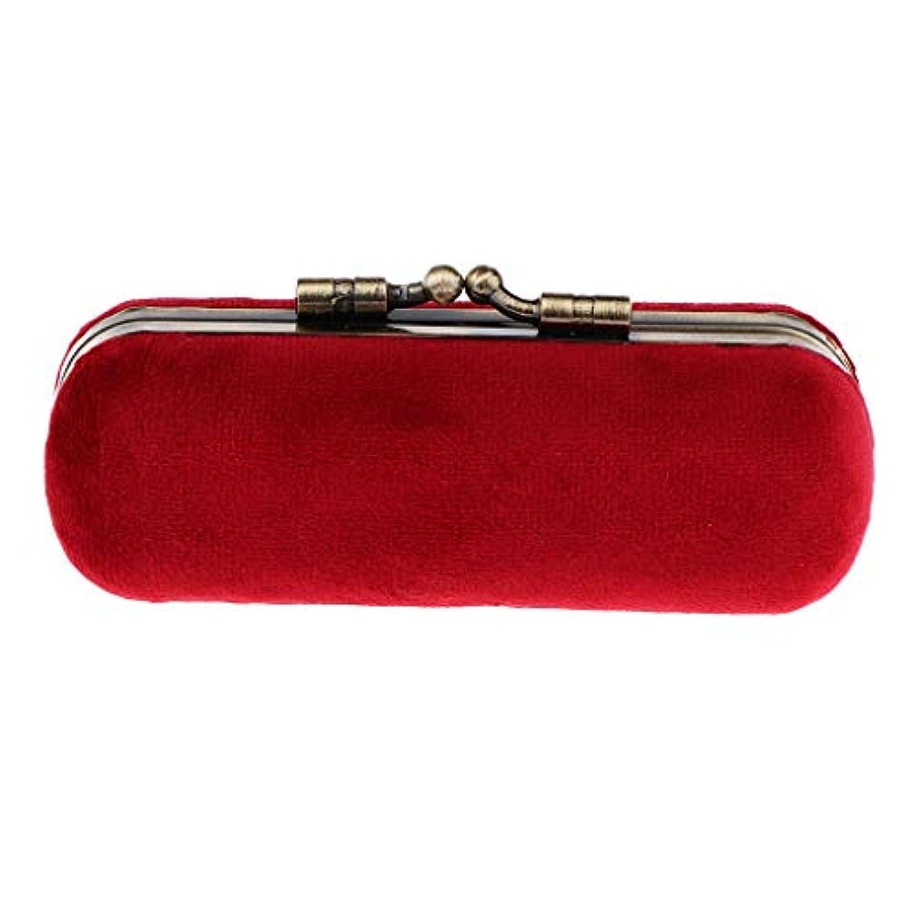 洞察力のある気づく卑しいP Prettyia 8色 口紅ホルダー 化粧ケース 収納ボックス ミラー 財布ポケット 化粧ポーチ - 赤紫