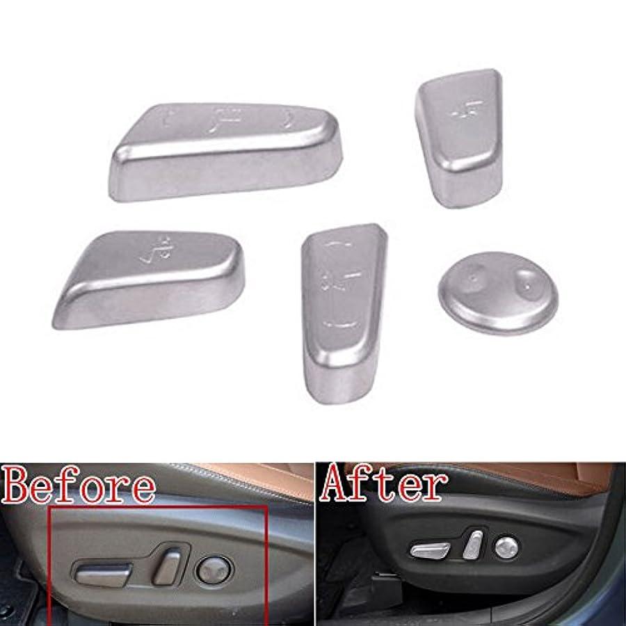 領域専門化する無知Jicorzo - 5x ABS Chrome Car Door Seat Adjustment Switch Control Knob Button sticker Fit For Hyundai Tucson Car...