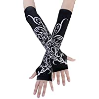 JISEN Black Punk Gothic Rock Knitted Soft Arm Warmer Fingerless Gloves