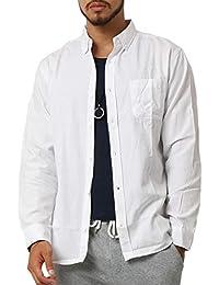 (アーケード) ARCADE メンズ シャツ 細身 タイト 選べる釦 オックスフォード ボタンダウンシャツ 長袖 白シャツ カジュアルシャツ