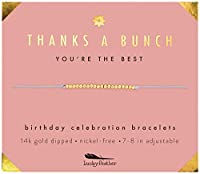 ラッキーフェザー 女性や女の子への誕生日プレゼント - 14Kゴールドディップドラブハートブレスレット 女の子用 調節可能な7インチ- 8インチのコード
