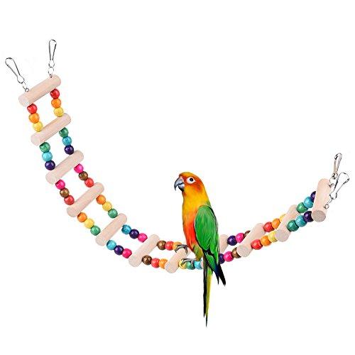 Petacc バードトイ オウムブランコ オウムおもちゃ 鳥グッズ 小鳥のおもちゃ ストレス解消 木製 マルチカラー 48*6cm