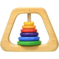 Grimm's Natural Wood Pyramid Baby Rattle & Teether with 6 Rainbow Colored Rings by Grimm's Spiel & Holz