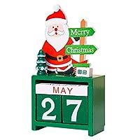 Advent Calendars,Decor Original Mini Wooden 3D Calendar Xmas Advent Decoration Gifts Ornaments Santa Claus Green