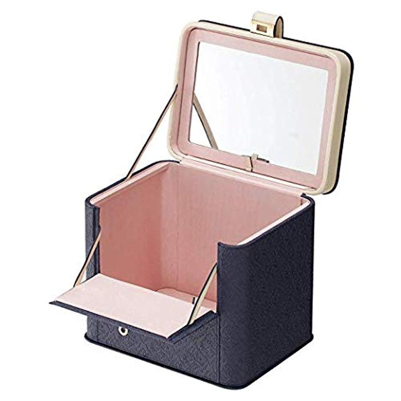 警告する町振幅鏡付き メイクボックス アラベスク 三面鏡 バニティ 大容量 コスメボックス おしゃれ 激安 木製 激安 かわいい メイクボックス ブランド 人気 (ロイヤルネイビー)