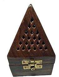 クリスマスプレゼント、木製ピラミッド形状Burner、Dhoopホルダーwith Base正方形とトップ円錐形状Dhoopホルダー