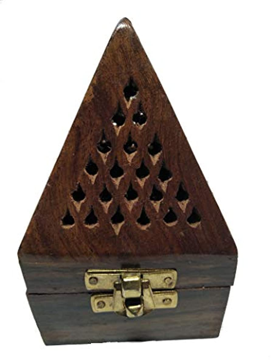 透過性所属収益クリスマスプレゼント、木製ピラミッド形状Burner、Dhoopホルダーwith Base正方形とトップ円錐形状Dhoopホルダー