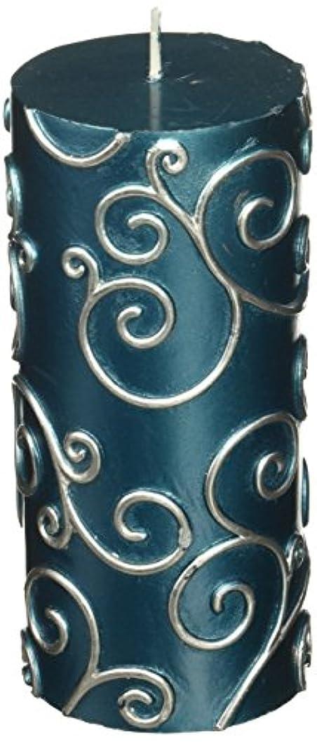 議論するブリリアントサスティーンZest Candle CPS-008-12 3 x 6 in. Blue Scroll Pillar Candle -12pcs-Case - Bulk