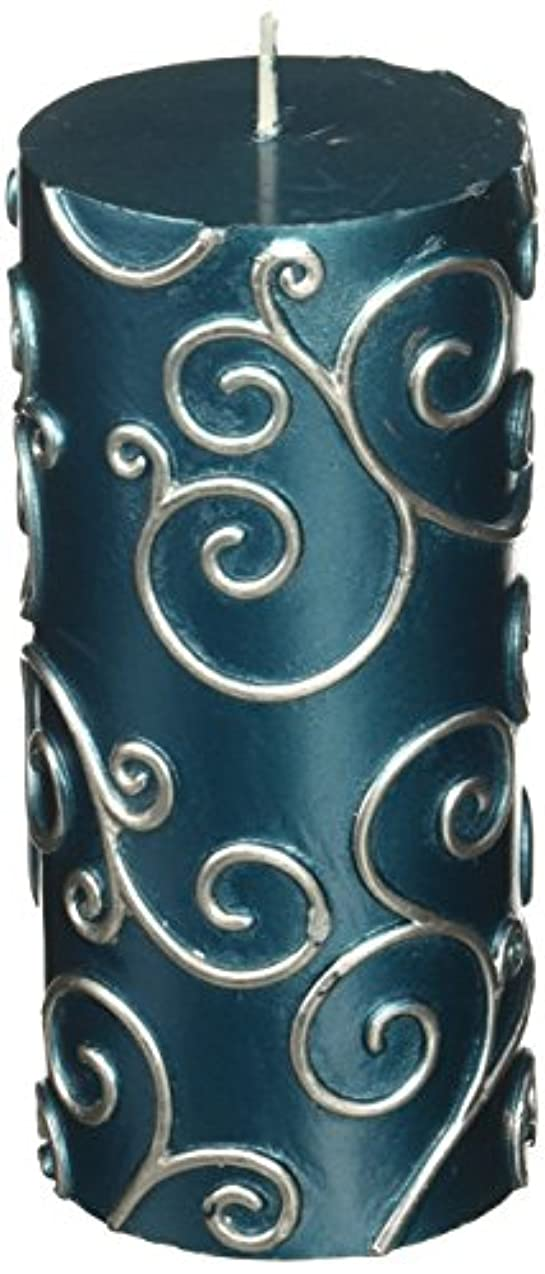 王室潜水艦以降Zest Candle CPS-008-12 3 x 6 in. Blue Scroll Pillar Candle -12pcs-Case - Bulk