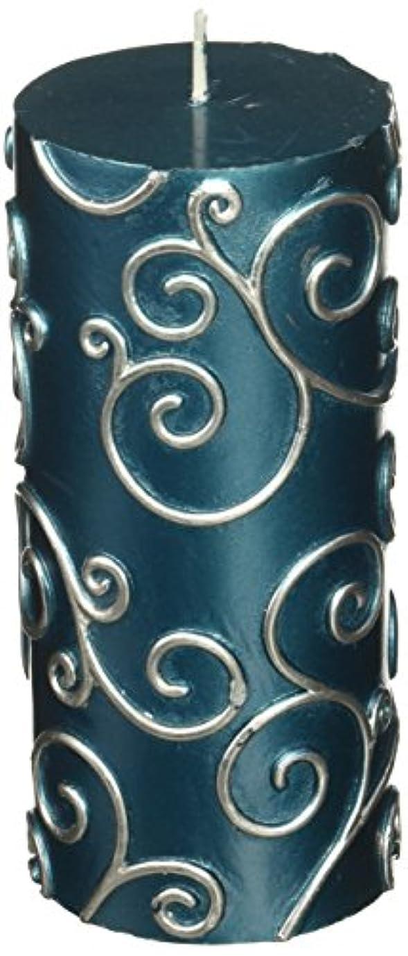 冒険家暗記するより多いZest Candle CPS-008-12 3 x 6 in. Blue Scroll Pillar Candle -12pcs-Case - Bulk
