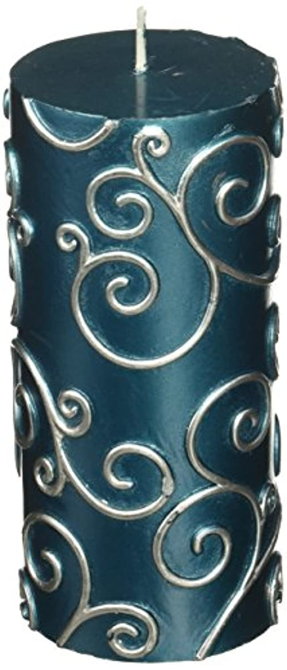 Zest Candle CPS-008-12 3 x 6 in. Blue Scroll Pillar Candle -12pcs-Case - Bulk