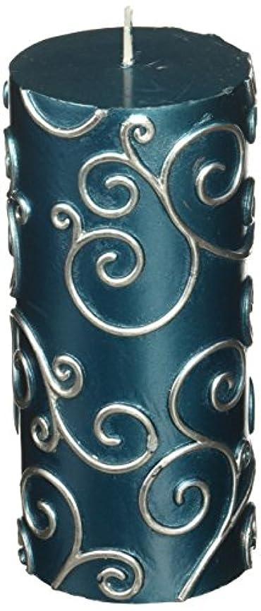 記念品エキサイティング解き明かすZest Candle CPS-008-12 3 x 6 in. Blue Scroll Pillar Candle -12pcs-Case - Bulk