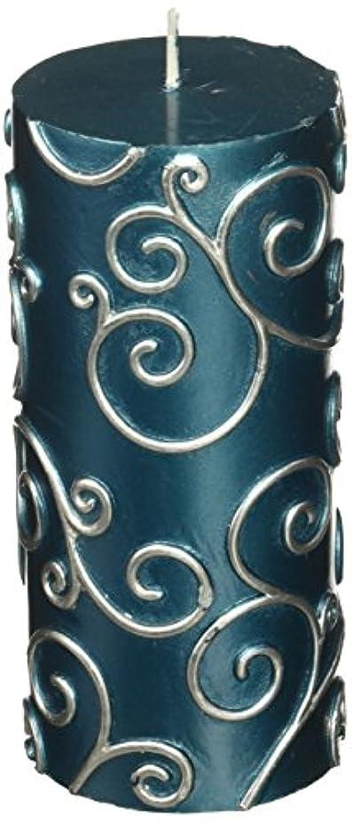 南方の変な後継Zest Candle CPS-008-12 3 x 6 in. Blue Scroll Pillar Candle -12pcs-Case - Bulk